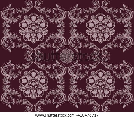 Ruby seamless pattern with flower and Ornaments in Baroque Style. Baroque Wallpaper. Baroque Design. Baroque Background. - stock vector