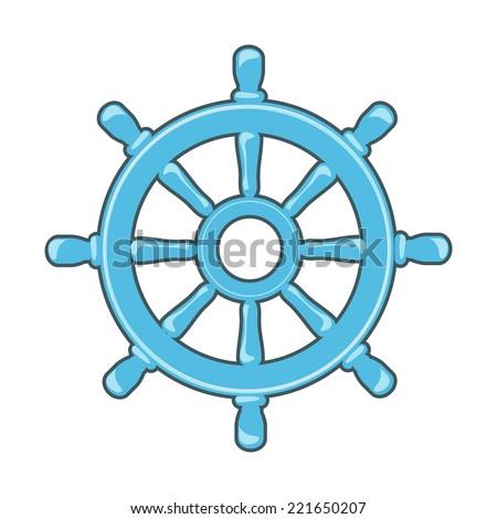 Rudder icon or Ship Wheel - stock vector