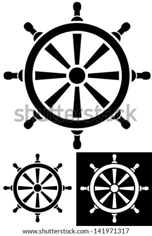 Ruddle - Boat Steering Wheel vector pictogram - stock vector