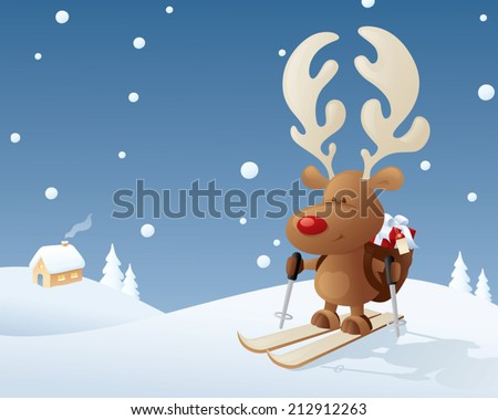 Rudolph makes a last minute delivery on skis. - stock vector