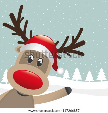 rudolph reindeer red nose and hat wave - stock vector