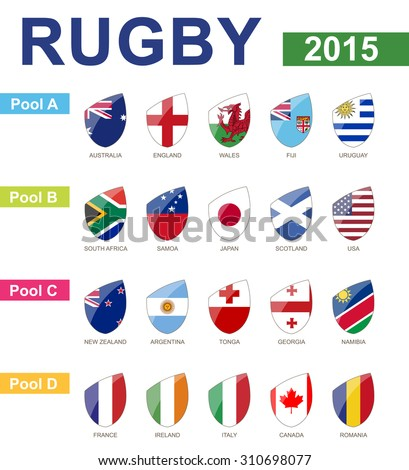Rugby 2015, All Pools, All Flag - stock vector