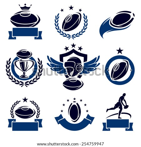 Rugby labels and icons set. Vector - stock vector