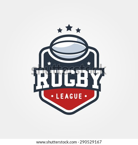 Rugby League Vintage Badge Logo Template, Sport T-Shirt Graphics - stock vector
