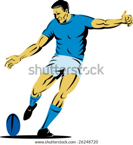 Rugby player kicking the goal - stock vector