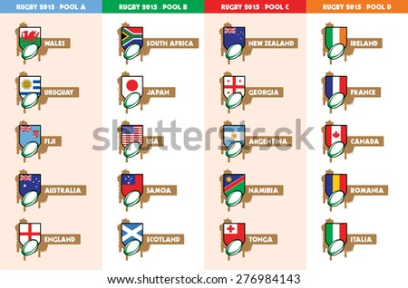Rugby 2015 Pool A B C D teams - stock vector