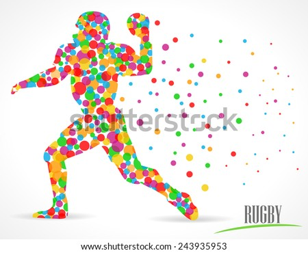 rugby, rugby player with polka dots color circles, sports player - vector eps10 - stock vector