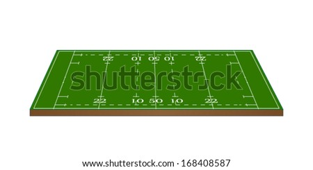 Rugby Union Field 3D Perspective - stock vector