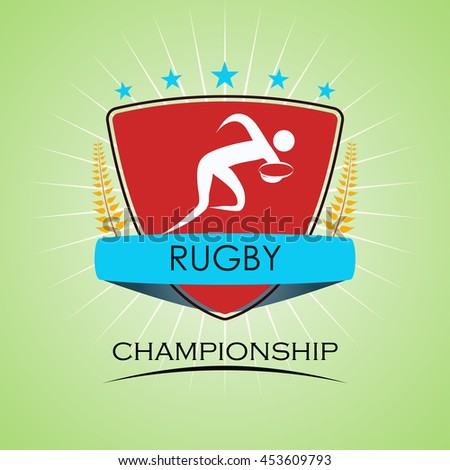 Rugby - Winner Golden Laurel Seal  - Layered EPS 10 Vector - stock vector