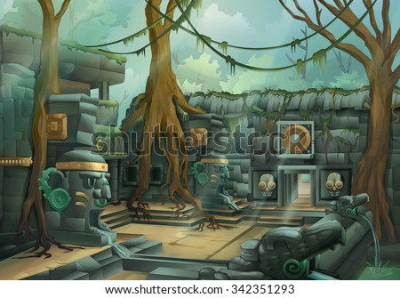 Ruins, jungle vector illustration - stock vector