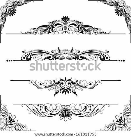 Rule line and corner design elements - stock vector