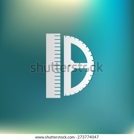 ruler and protractor. characters geometry. Education sign. symbol icon drawing and geometry - stock vector
