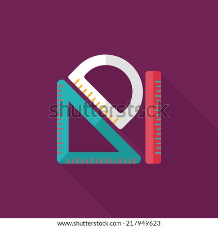 Ruler flat icon with long shadow,eps10 - stock vector