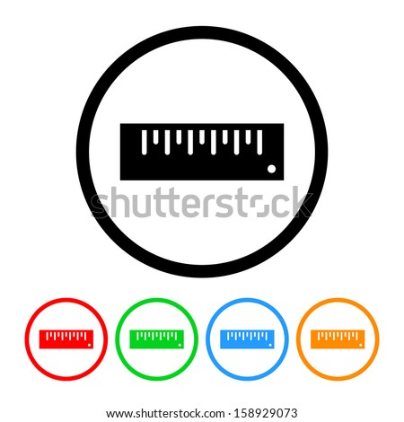 Ruler Icon with Color Variations - stock vector