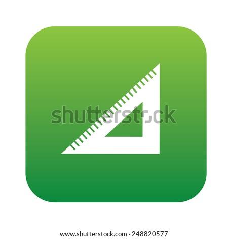 Ruler symbol design on green button,clean vector - stock vector
