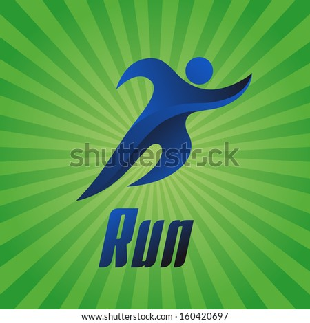 Run, athlete on a green background, vector illustration - stock vector
