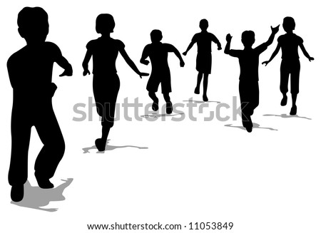 run children silhouette - stock vector