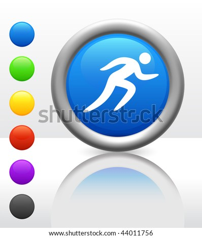 Run Icon on Internet Button Original Vector Illustration - stock vector