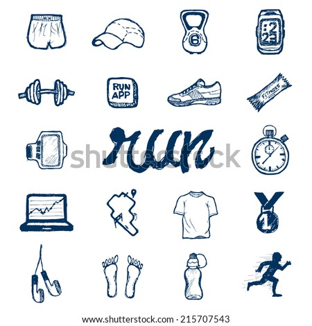 Run icons set in doodle style, hand drawing - stock vector