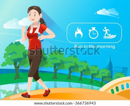 Run in the morning.Icon burn calories energy.Running in city park.Wake up for refreshed in the morning.Discipline of exercise.Illustration for advertise exercise.Graphic design and vector EPS 10. - stock vector