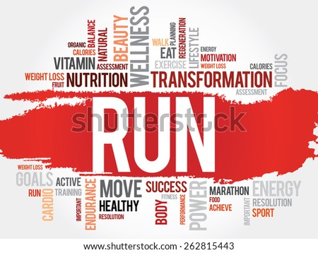 RUN word cloud, fitness, sport, health concept - stock vector