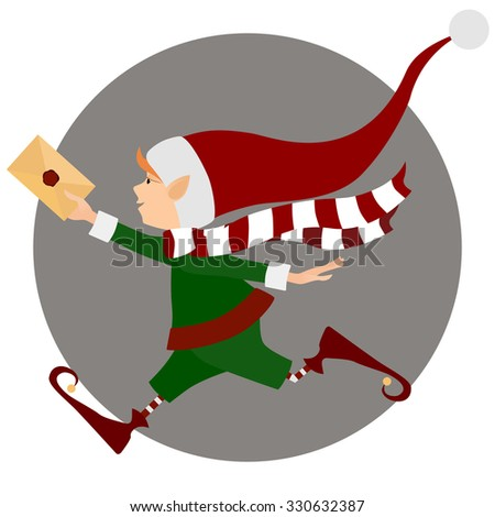 Runing Christmas elf with letter (envelope) - stock vector