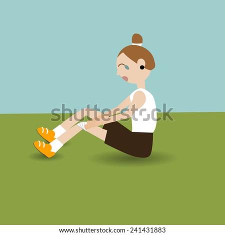 Runner feeling pain with sport injury - stock vector