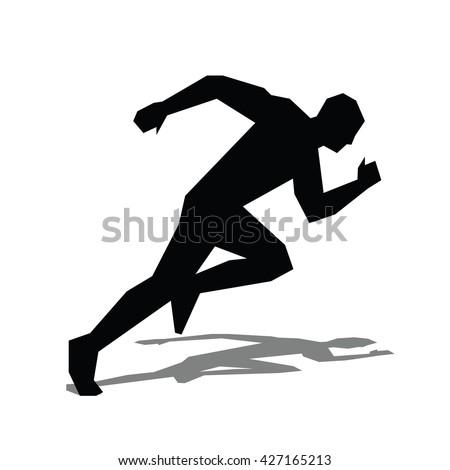 Runner flat icon. Running man vector silhouette. Run concept, shadow. Sprinter - stock vector