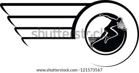 Runner in Winged Circle Design - stock vector