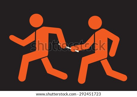 runner passing the baton to teammate - stock vector