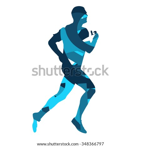 Runner. Running man, blue vector silhouette - stock vector