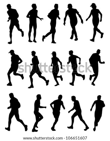 runner silhouette collection - stock vector