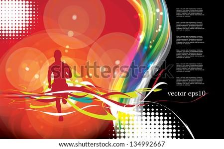 Runner. Sport vector illustration - stock vector