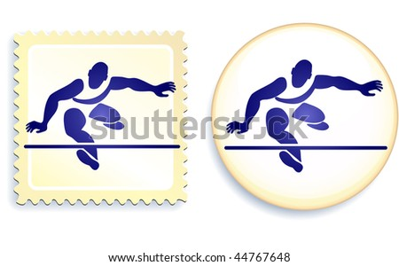 Runner Stamp and Button Original Vector Illustration - stock vector