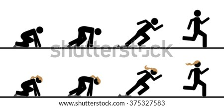 Runners at starting blocks in different phases - stock vector