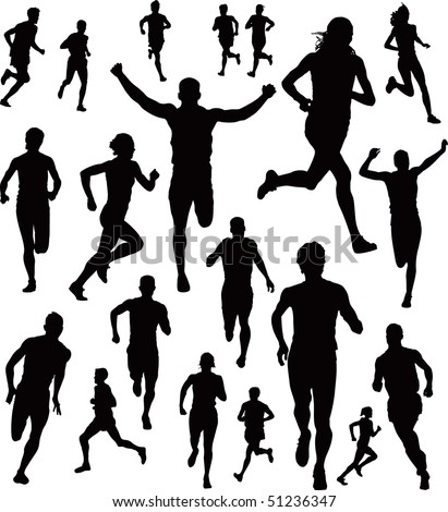 Runners Vector - stock vector