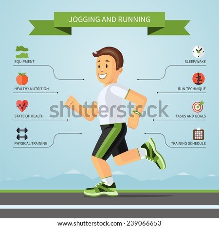 Running and jogging infographics concept with smiling cartoon jogger and the set of flat design style fitness icons. Vector illustration - stock vector