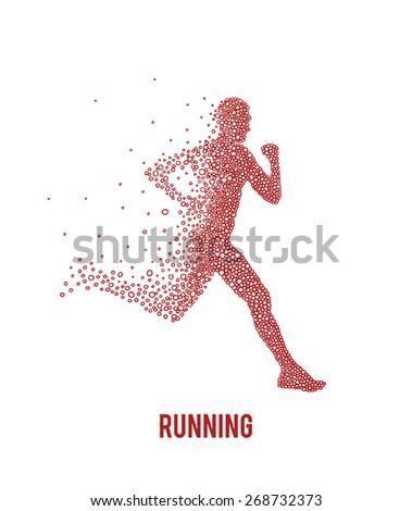 Running athlete. Vector illustration. - stock vector