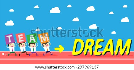 running businessman at the finishing line. wins Race target success. Bulb idea concept. winner. finish. win. flat design. track. Success. goal. Target. team, teamwork. track run. happy dream - stock vector
