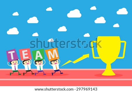 running businessman at the finishing line. wins Race target success. Bulb idea concept. winner. finish. win. flat design. track. Success. goal. Target. team, teamwork. track run. happy. trophy cup - stock vector