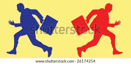 Running businessmen - stock vector