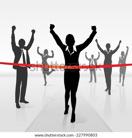 running businesswoman crossing finish line win success business people, vector illustration - stock vector