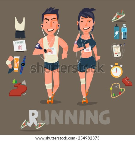 Running character with kits . male and female. sport concept - vector illustration - stock vector