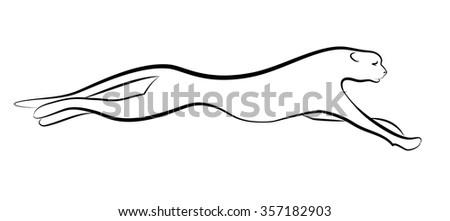 Running cheetah (tiger). Simple lines. Ink drawing. - stock vector