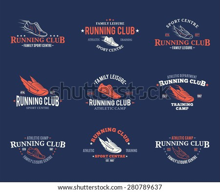 Running Club Logo, Labels Templates and Badges - stock vector