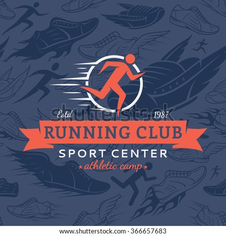 Running club logo template. Running club design elements and sport equipment icons. Vector running club seamless pattern or background. - stock vector