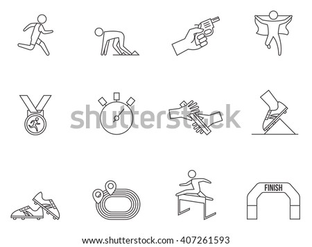 Running competition icons in thin outlines.  - stock vector