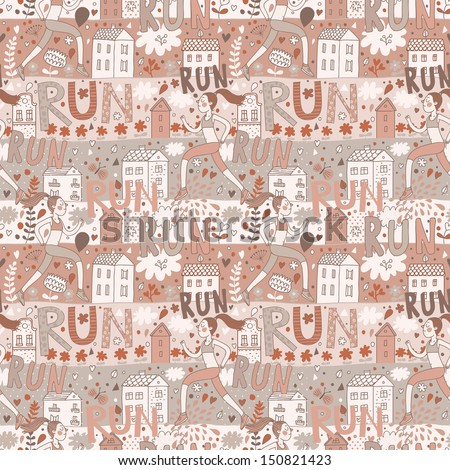 Running concept seamless pattern. Seamless pattern can be used for wallpaper, pattern fills, web page background,surface textures. Girl is running near houses in vector - stock vector