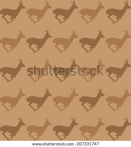 Running deer silhouette pattern - stock vector