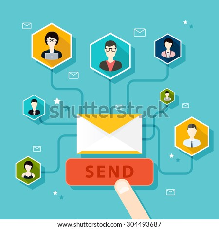 running email campaign, email advertising, direct digital marketing. Flat design style modern vector illustration concept. - stock vector